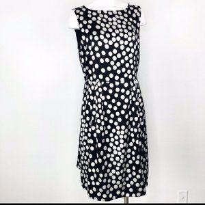 St John black white polka dot silk dress size 10